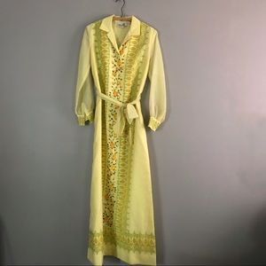 Vintage Alfred Shaheen Yellow Floral Maxi Dress